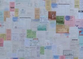 Estado de Vigilancia. Tickets de compra sobre madera. 120X80 cms. 2005