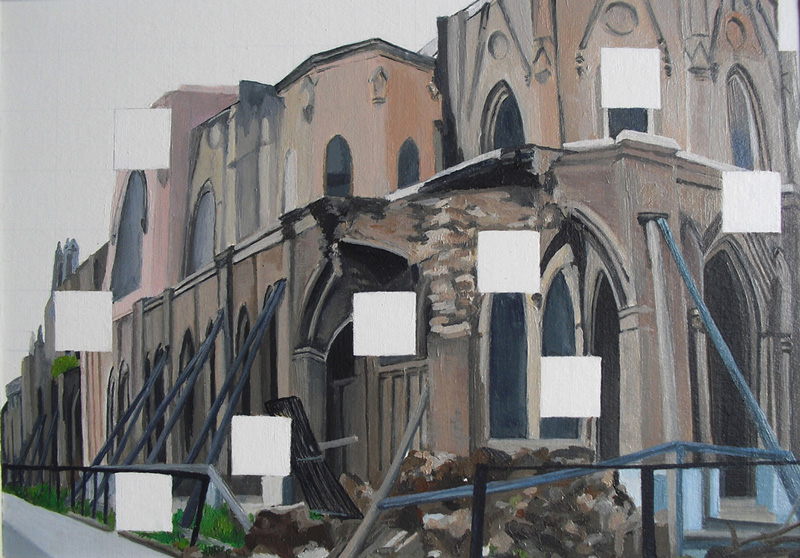 Resquicios. Basilica del Salvador.Óleo sobre cartón. 29X21 cms.
