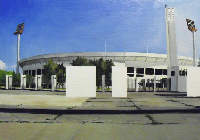 Resquicios. Estadio Nacional. Óleo sobre cartón. 29X21 cms.
