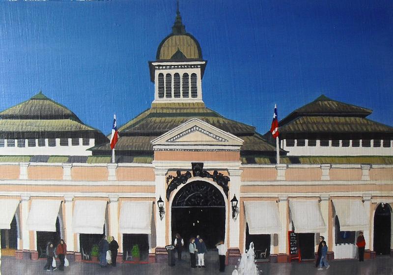 Resquicios. Mercado Central.Óleo sobre cartón. 29X21 cms.