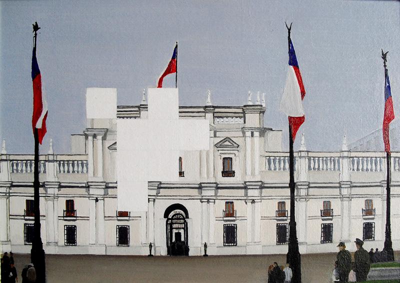 Resquicios. Palacio la Moneda. Óleo sobre cartón. 29X21 cms.